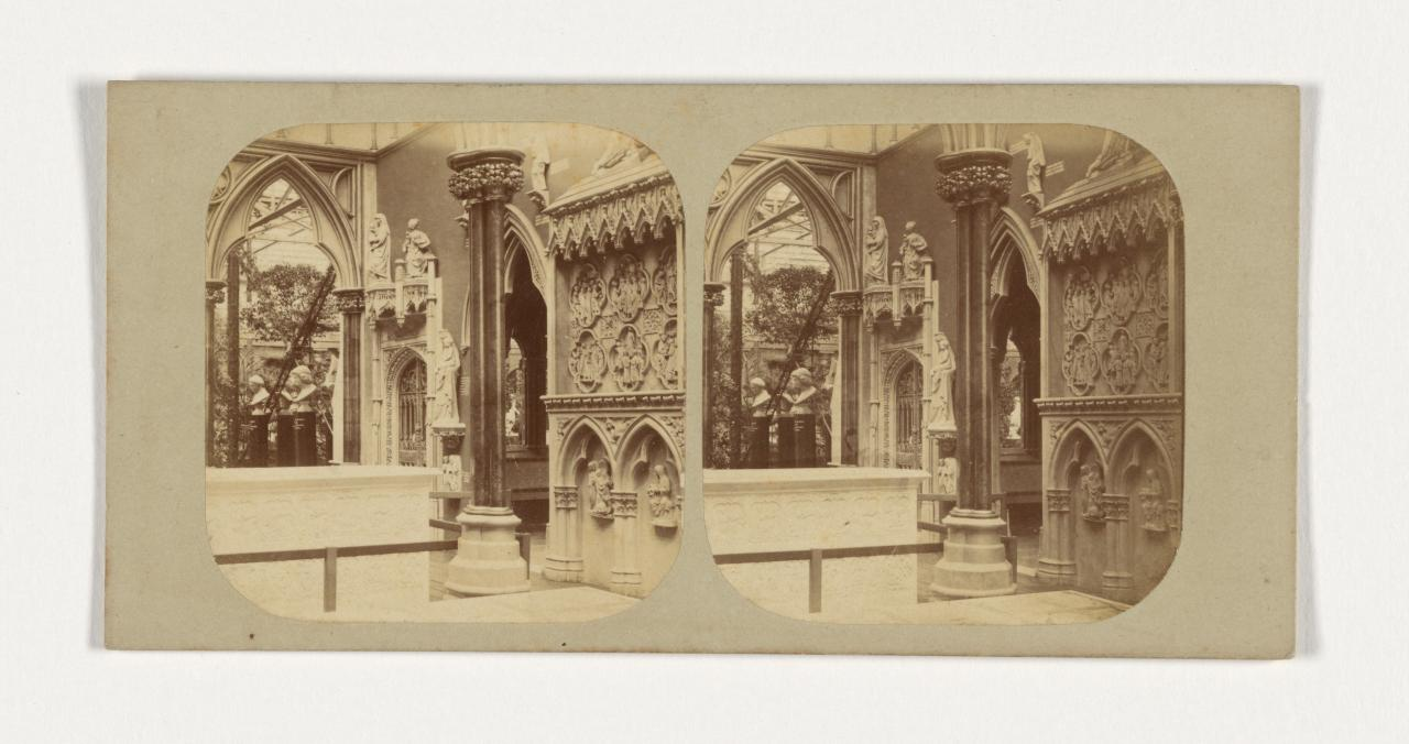 Crystal Palace, Sydenham, London. 3. The French and Italian Medieval vestibule, stereograph