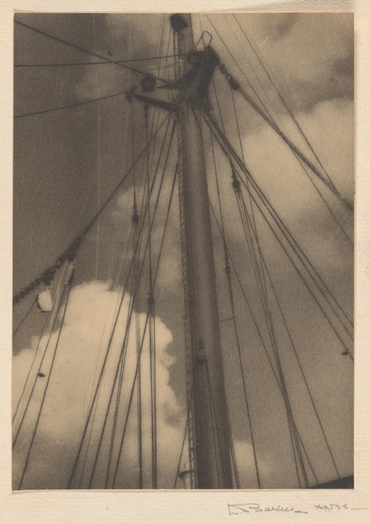 Mast and clouds, P & O, Australia