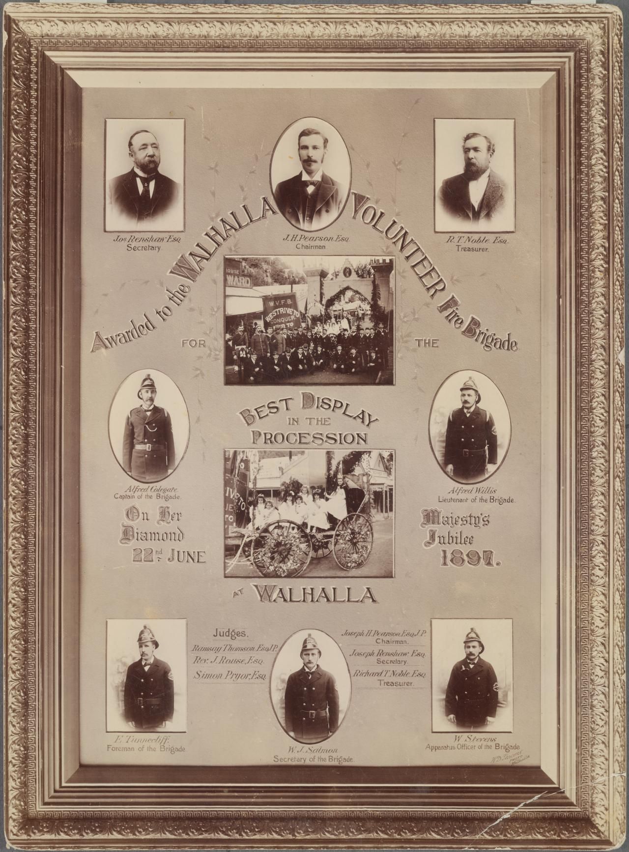 No title (Photographic mosaic of the Walhalla Volunteer Fire Brigade Award, 1897)