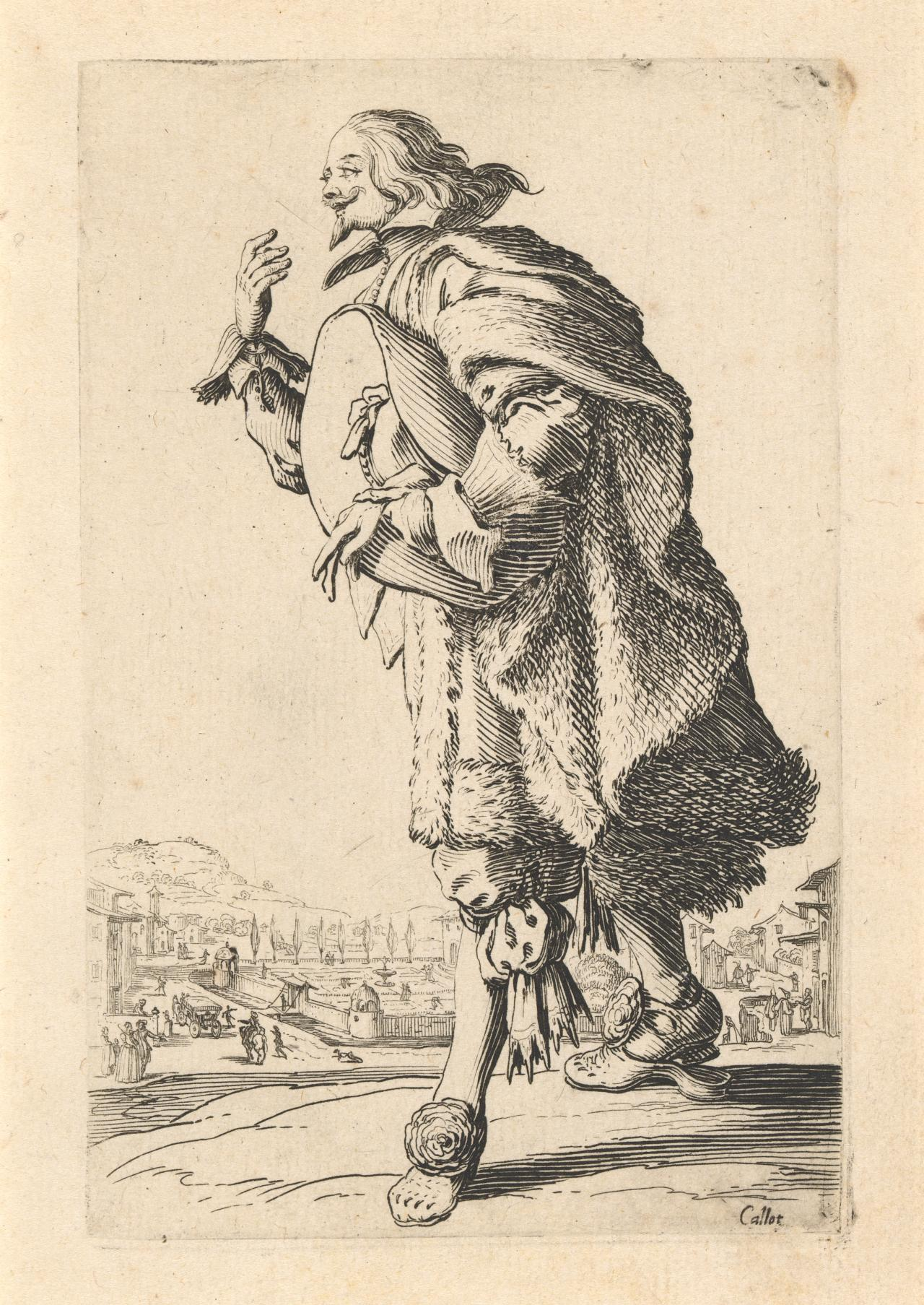 Nobleman bowing with felt hat under his arm