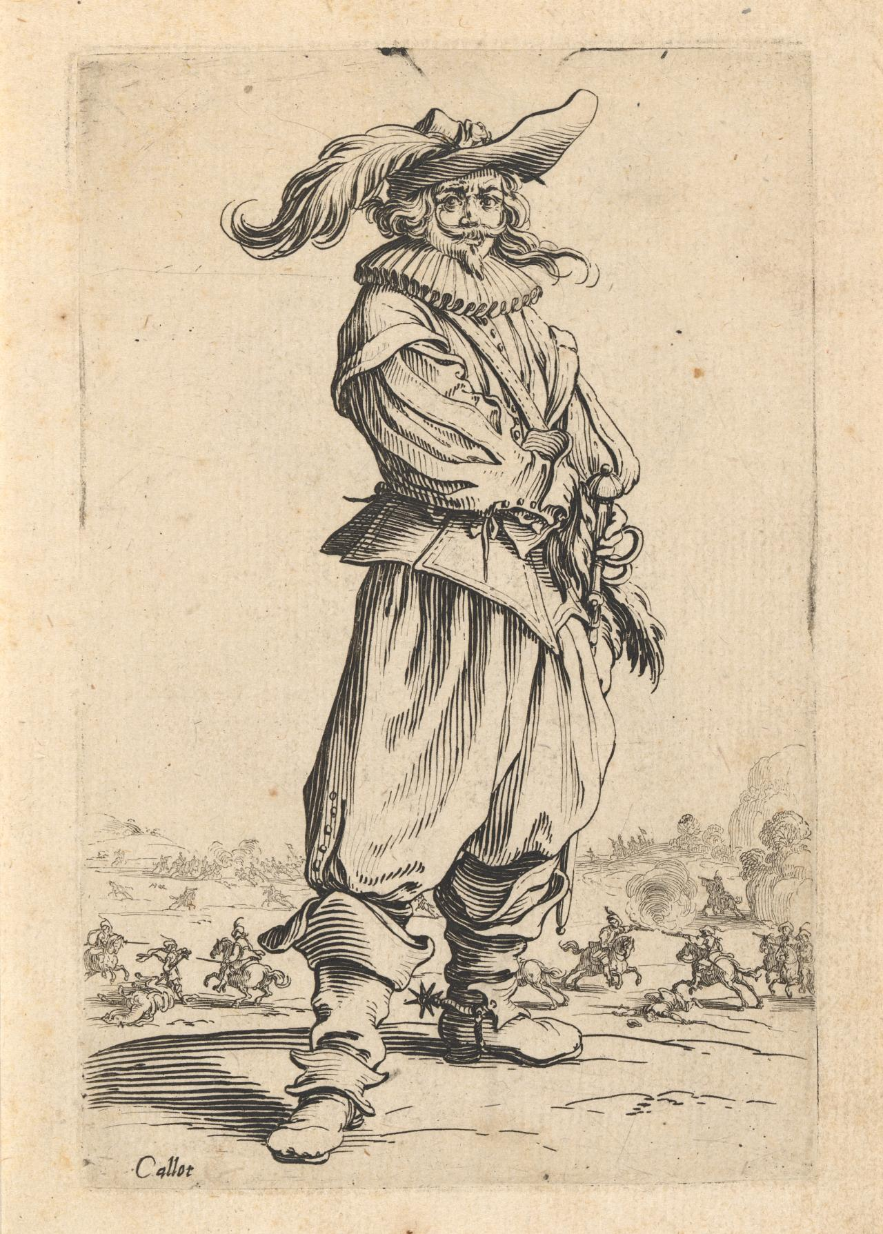 Soldier with feathered hat