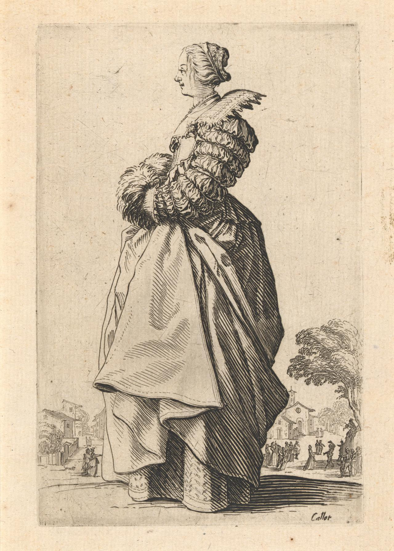 Noblewoman in profile with her hands in a muff