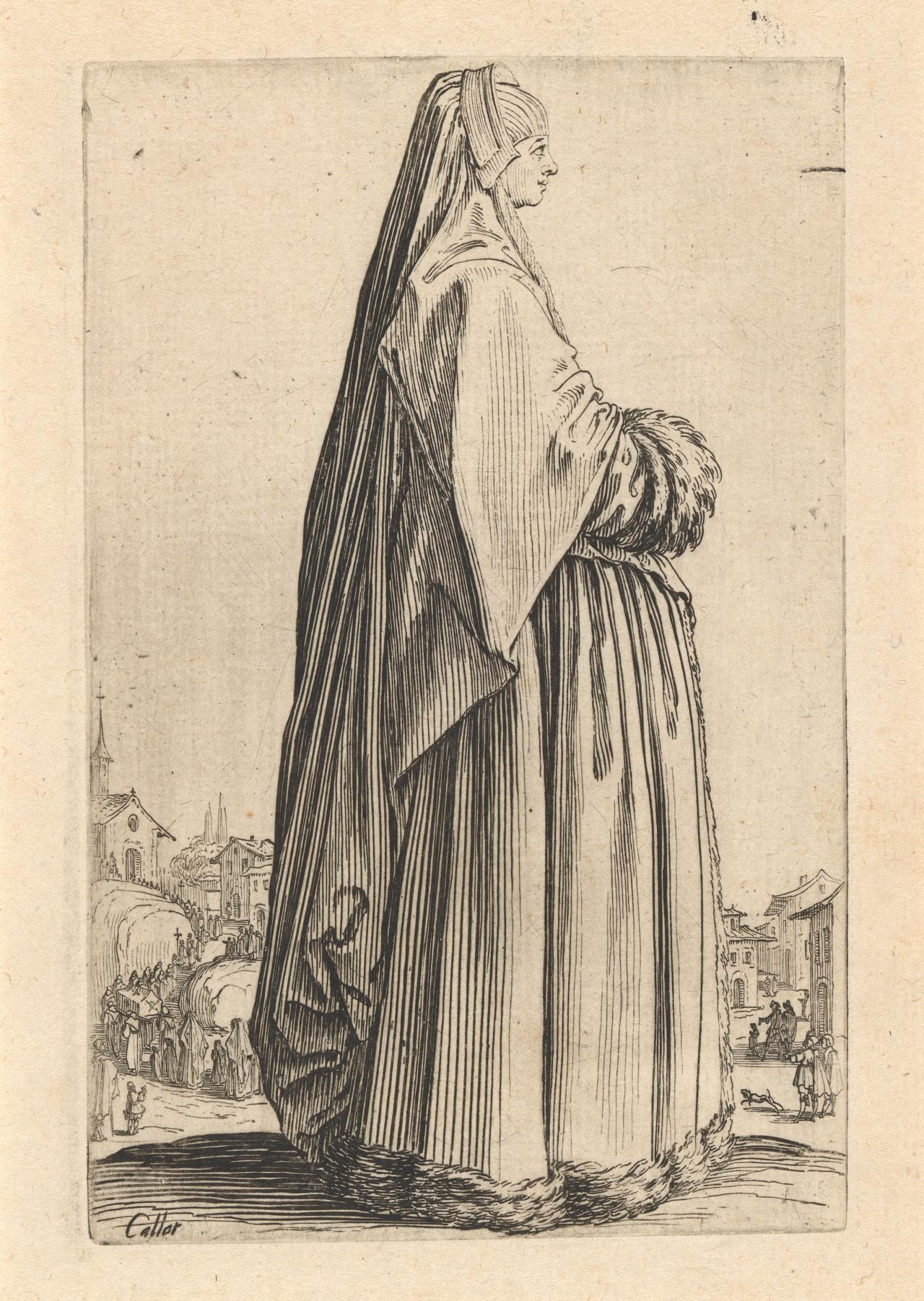 Noblewoman wearing a large veil and a dress trimmed with fur