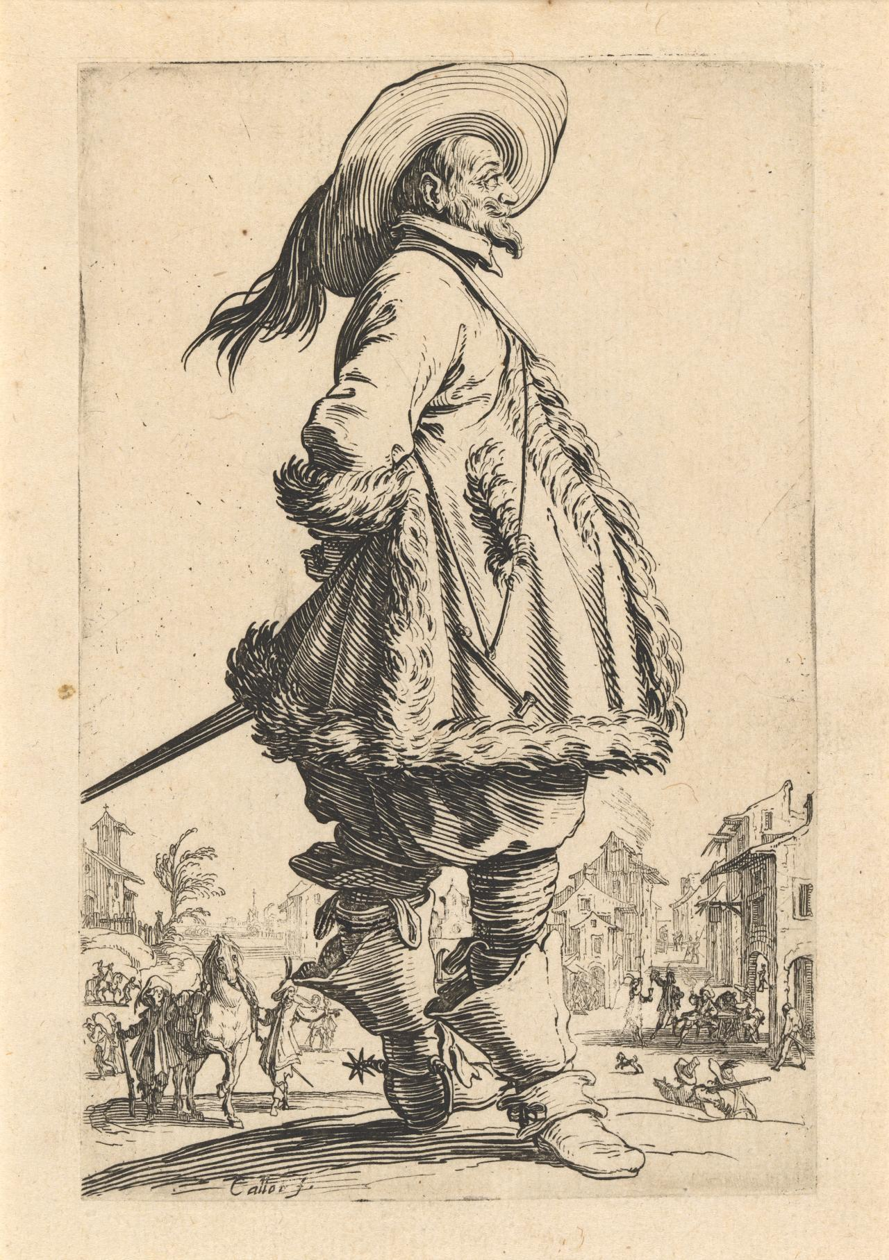 Nobleman with fur-trimmed mantle holding his hands behind his back
