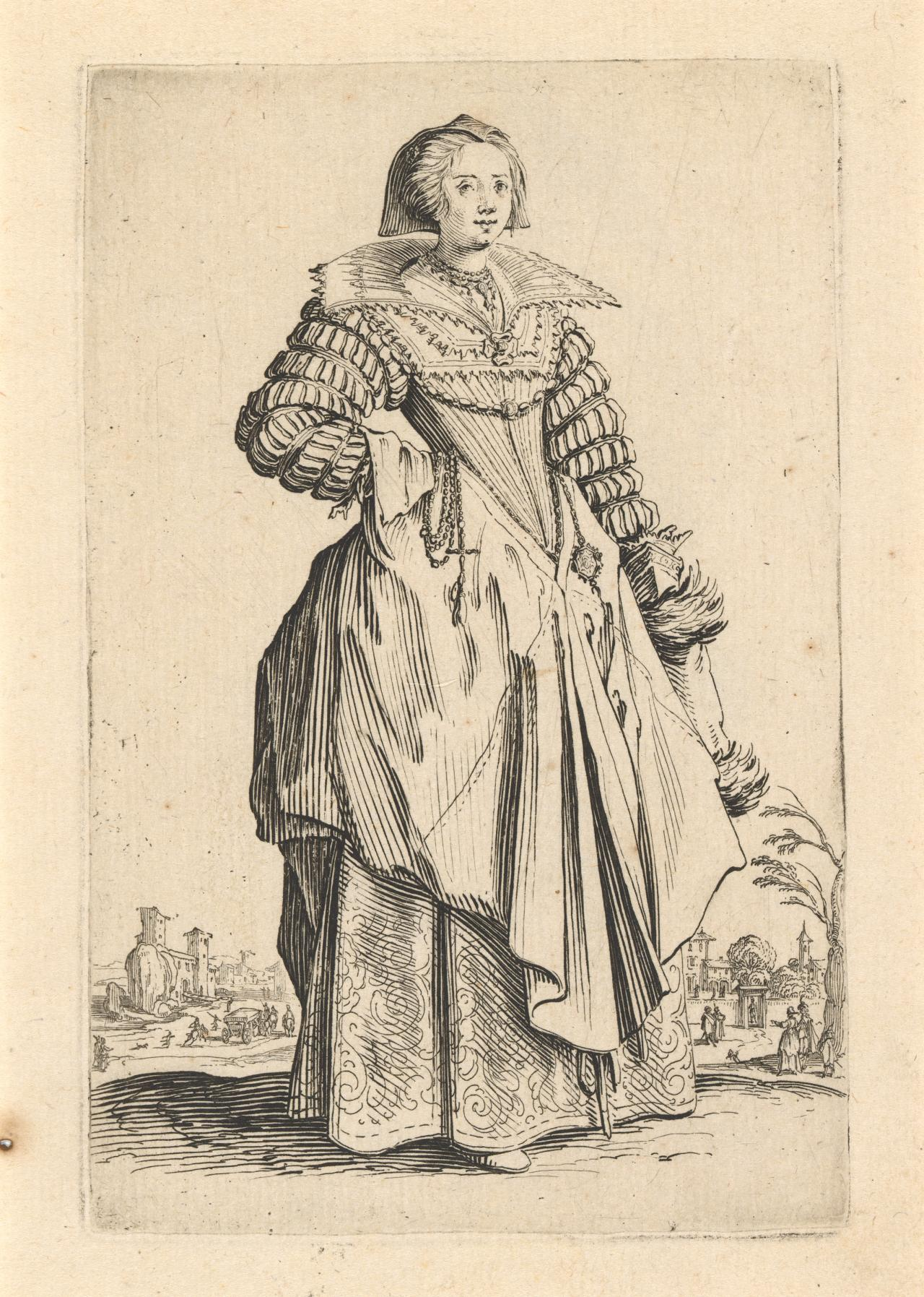 Noblewoman with a large collar and cap falling behind