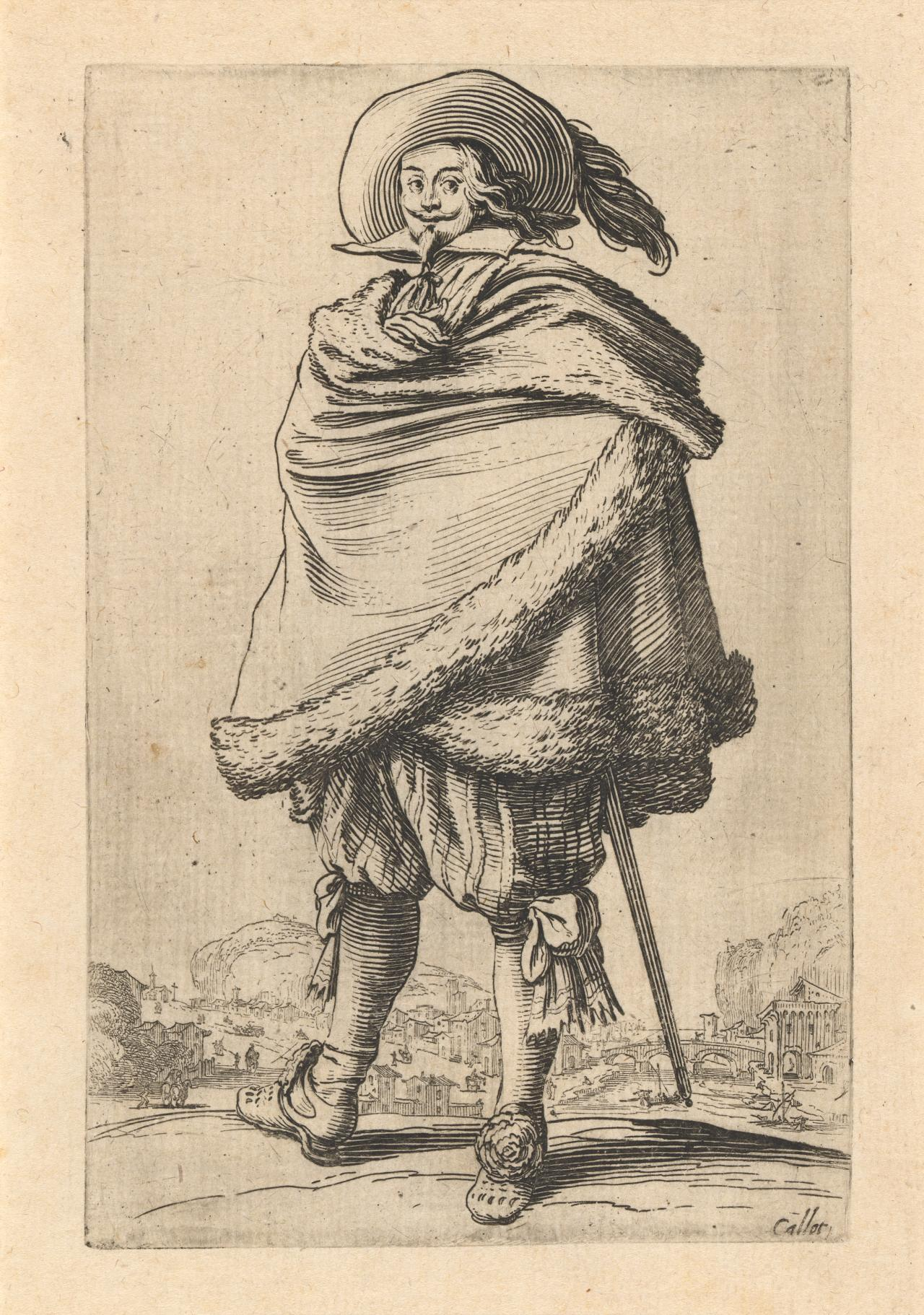 Nobleman wrapped in a mantle trimmed with fur