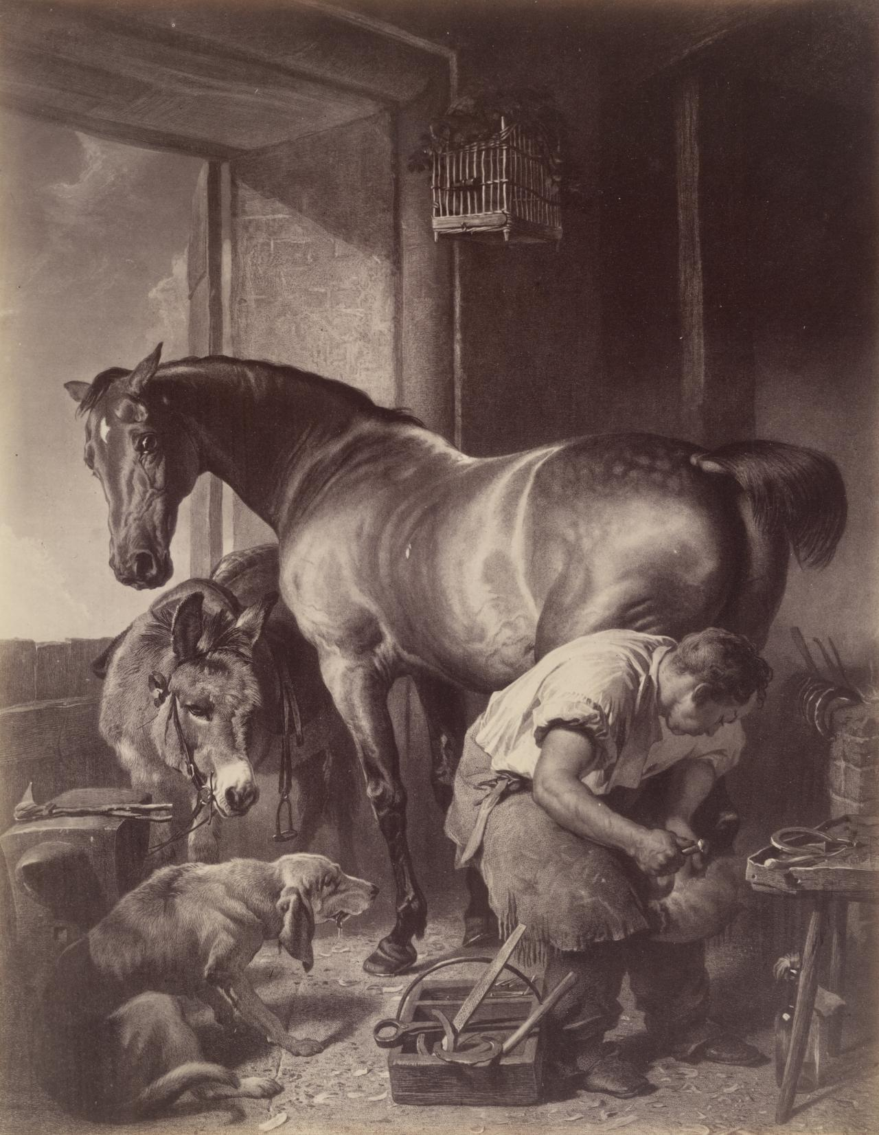 Edwin Landseer's painting, The shoeing forge