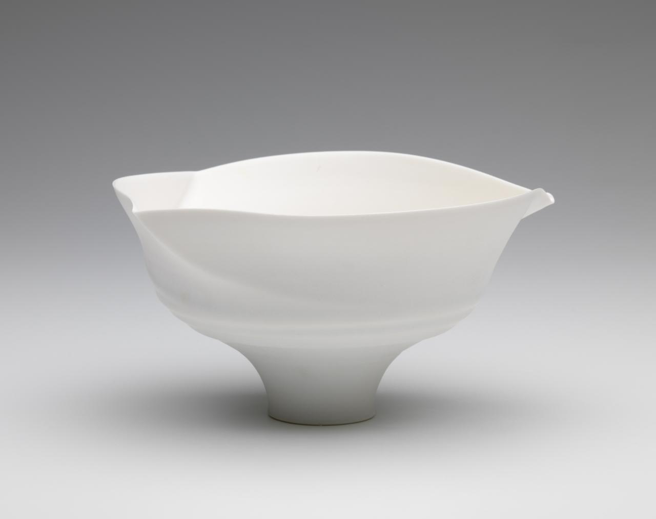 Spiral lipped bowl with white glaze