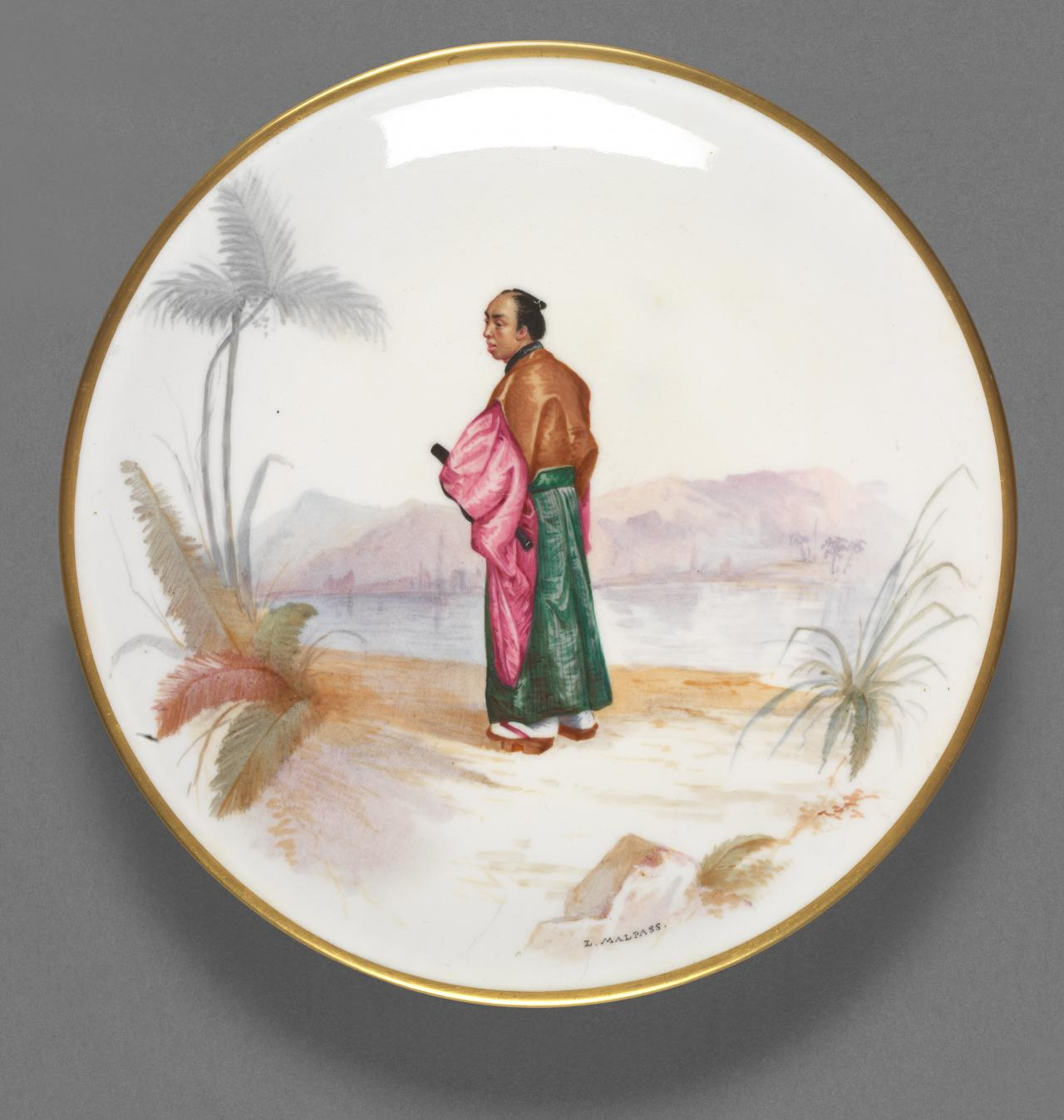 Plate (image of Japanese fishman)