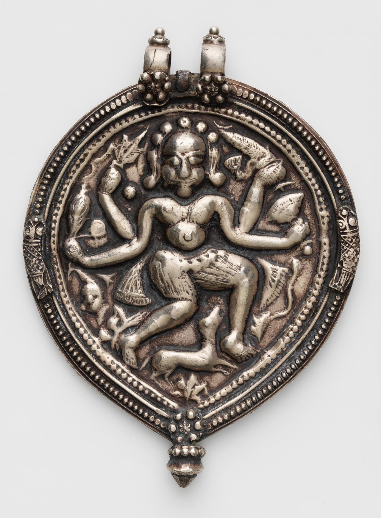 Pilgrimage and devotional pendant (Phul) with Shiva as Bhairava