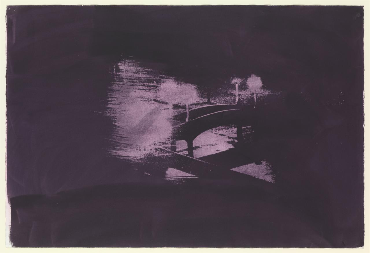 Nocturne: footbridge and wind