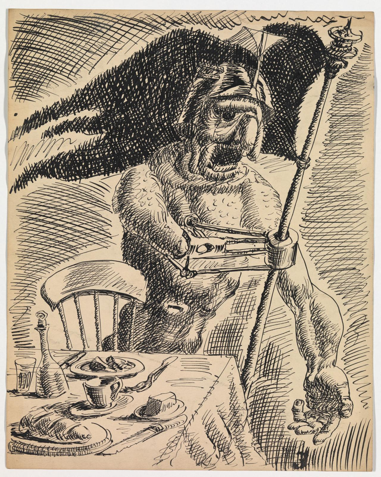 Untitled (Figure wearing helmet with banner and table)