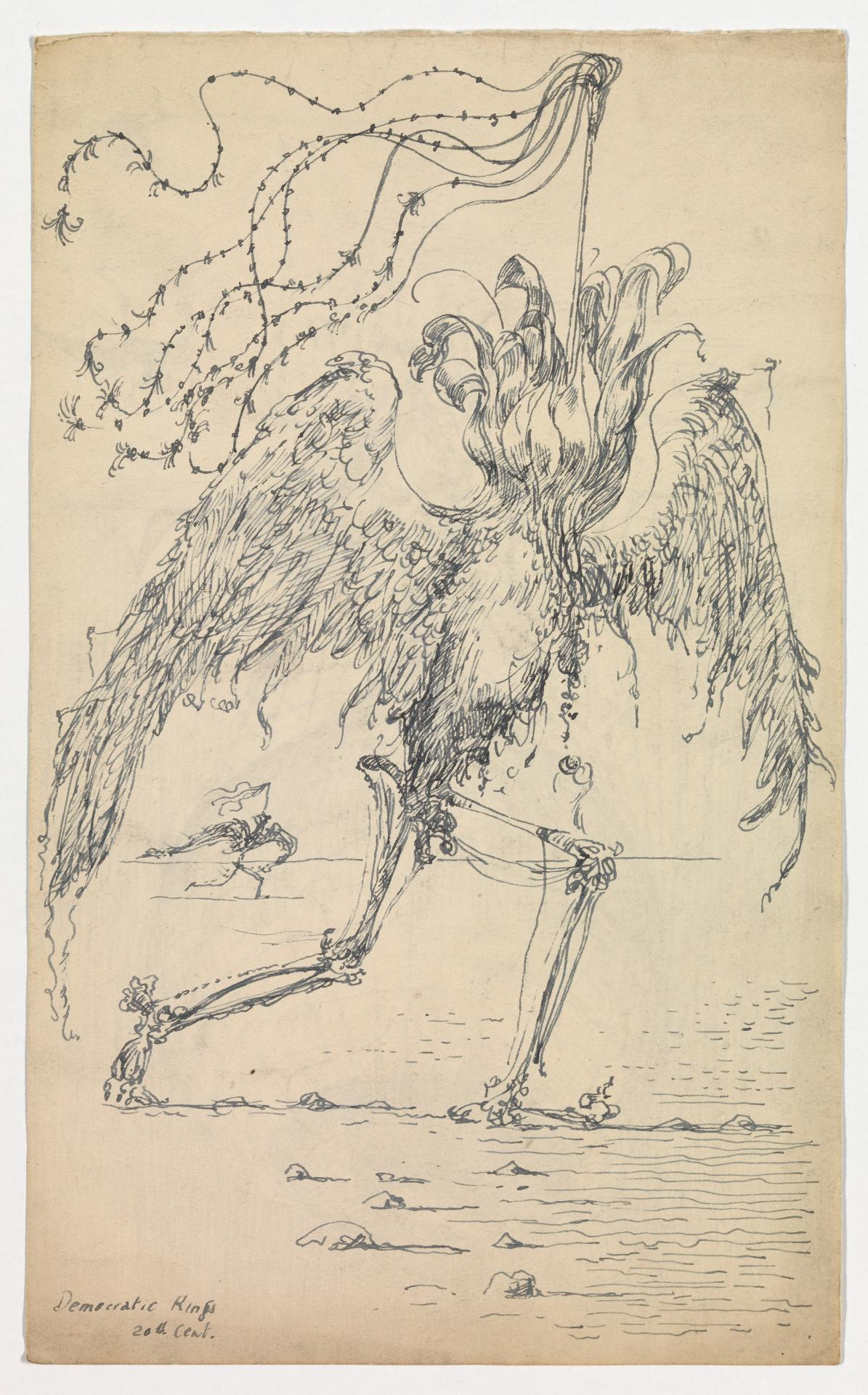 Democratic Kings (Winged creature with bud-like head and skeletal legs with banner)