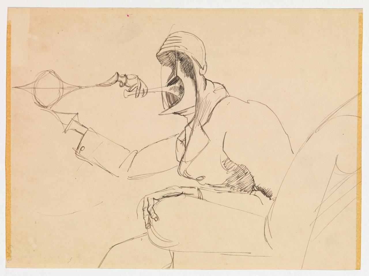 Untitled (Seated figure with abstract face)