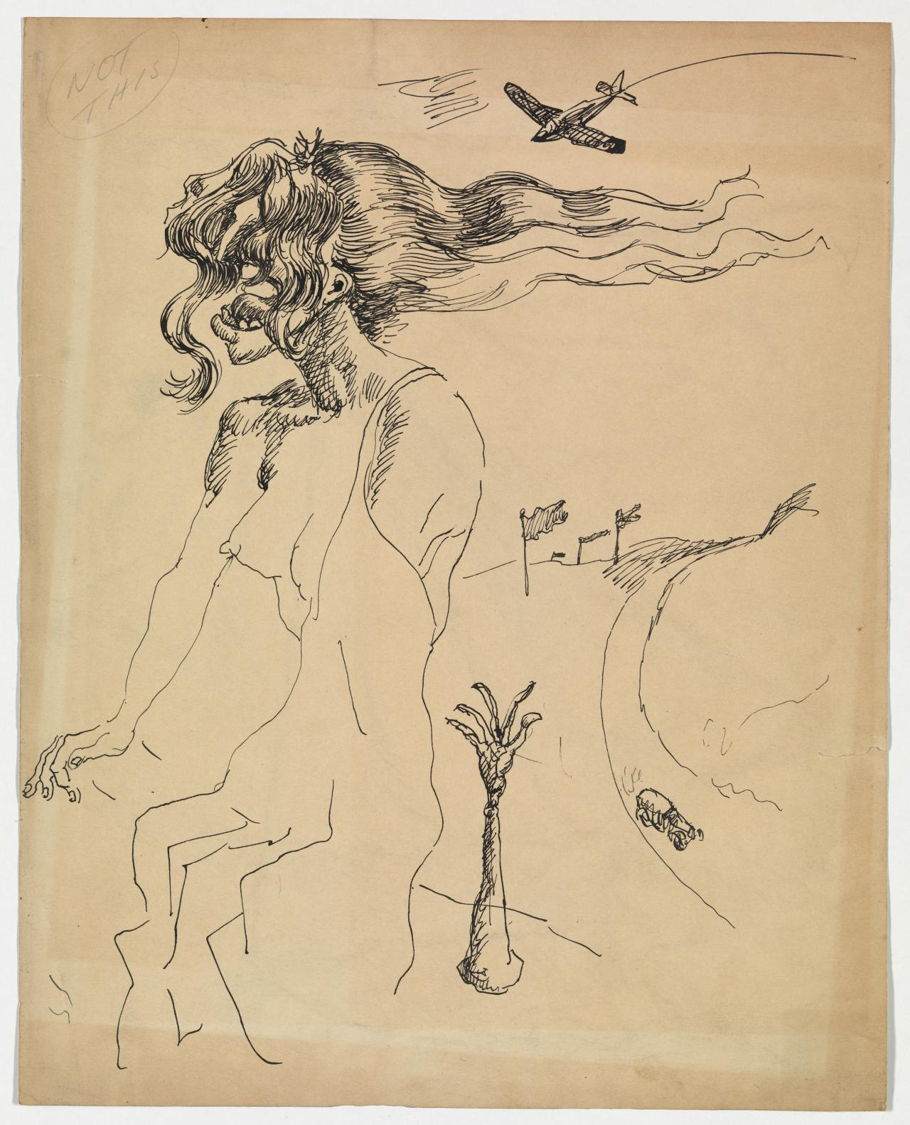 Untitled (Screaming female form with flowing hair, aeroplane and car)