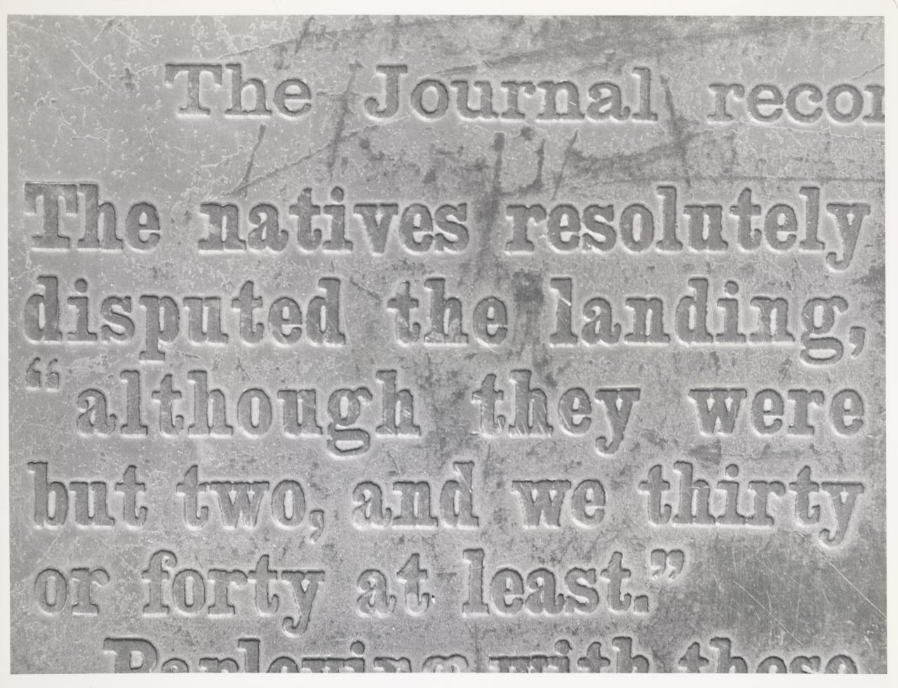 Extract from Captain Cook's journal, stone plaque