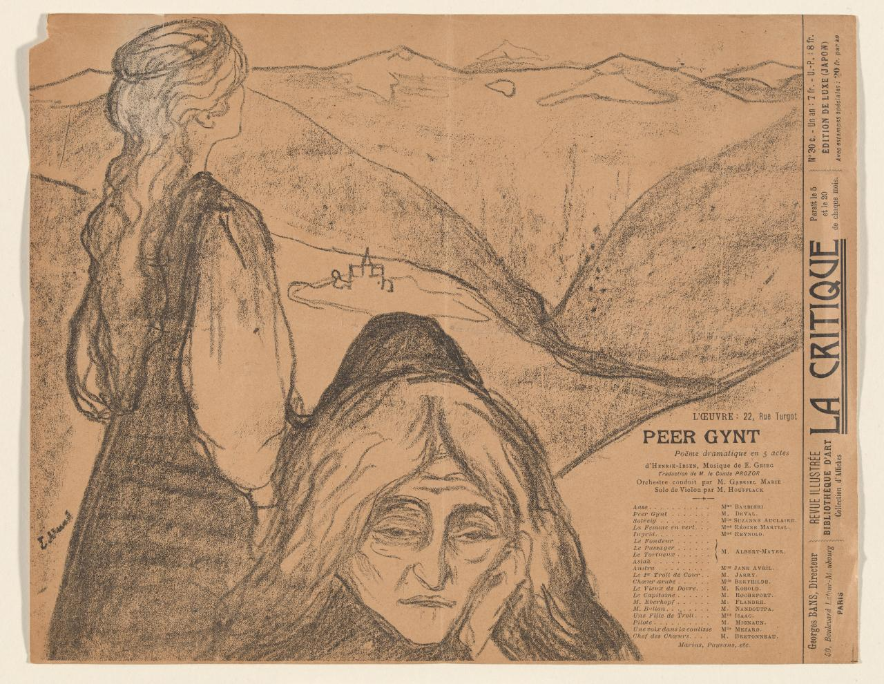 Playbill for Theatre de l'Oeuvre: Peer Gynt 1896