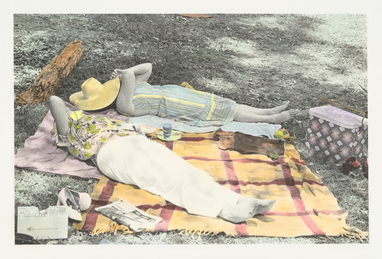 No title (Two women sleeping on a picnic rug)
