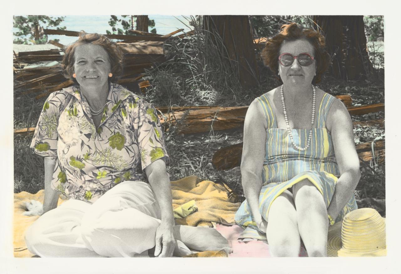 No title (Two women sitting on a picnic rug)