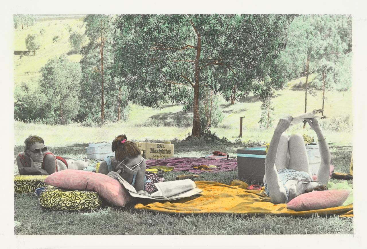 No title (Three women on picnic rugs)