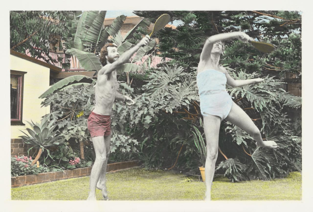 No title (Man and woman playing badminton)