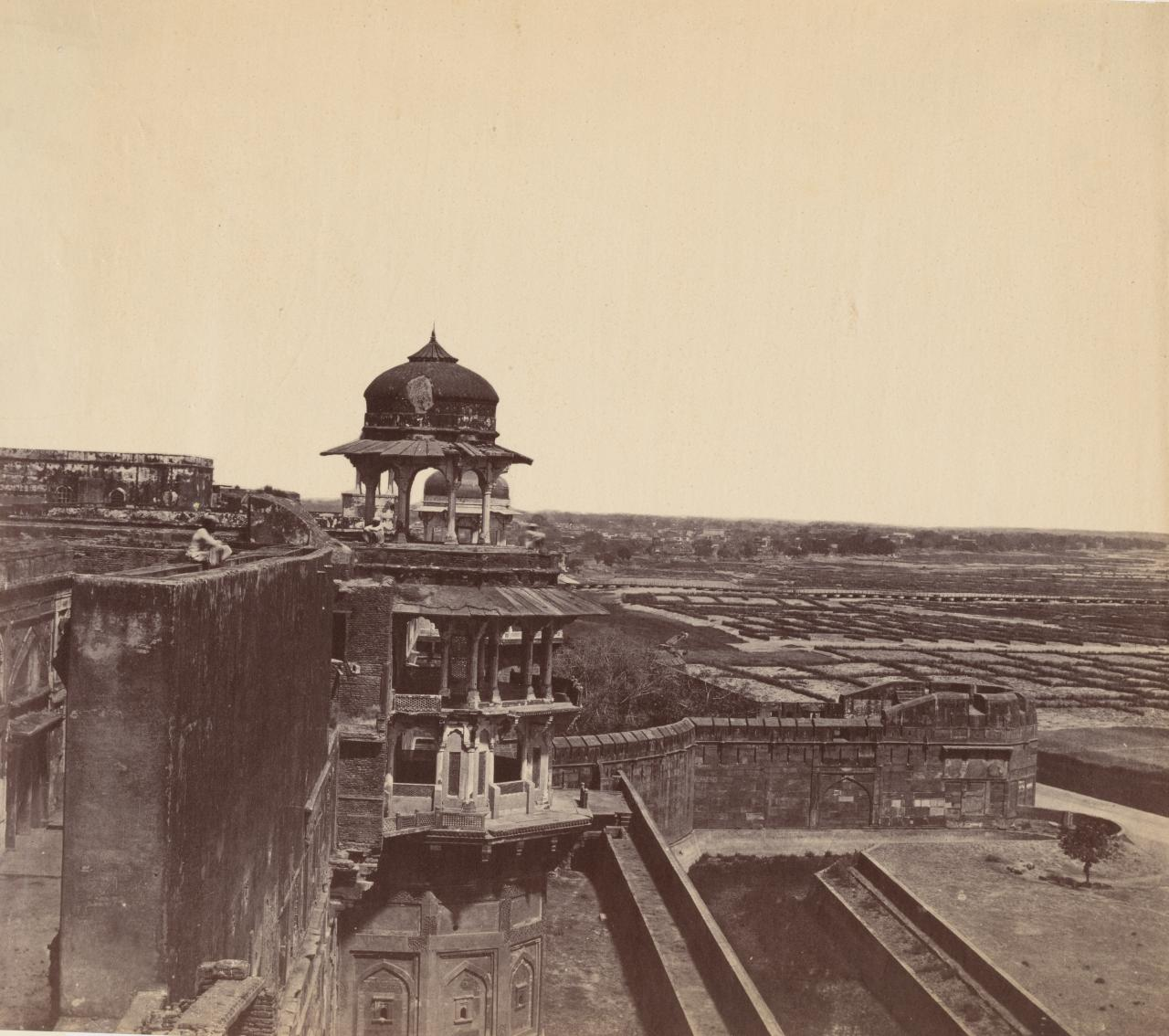 The Red Fort,Aora,showing the Big Wall and the Two Towers and the river bed