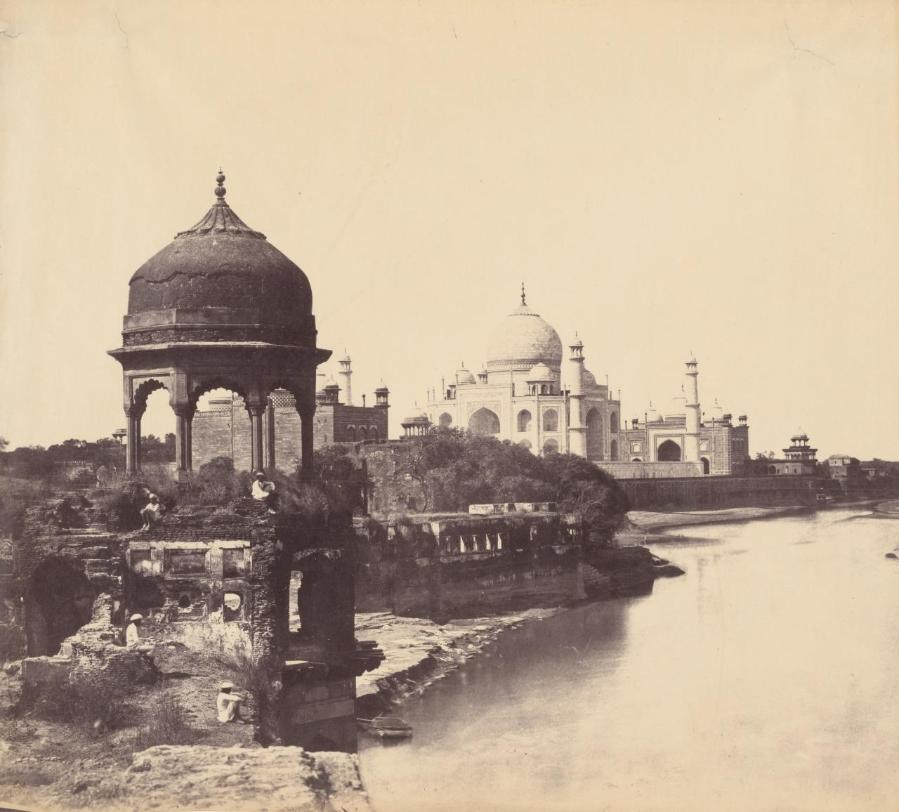 The Taj Mahal from the riverbank showing Tomb left