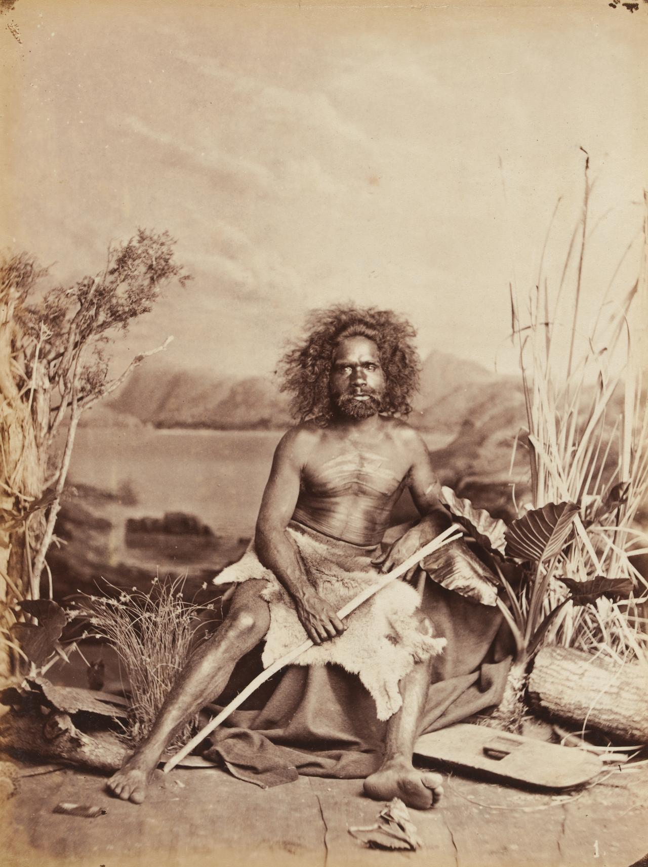 No title (Aboriginal man holding a forked stick)