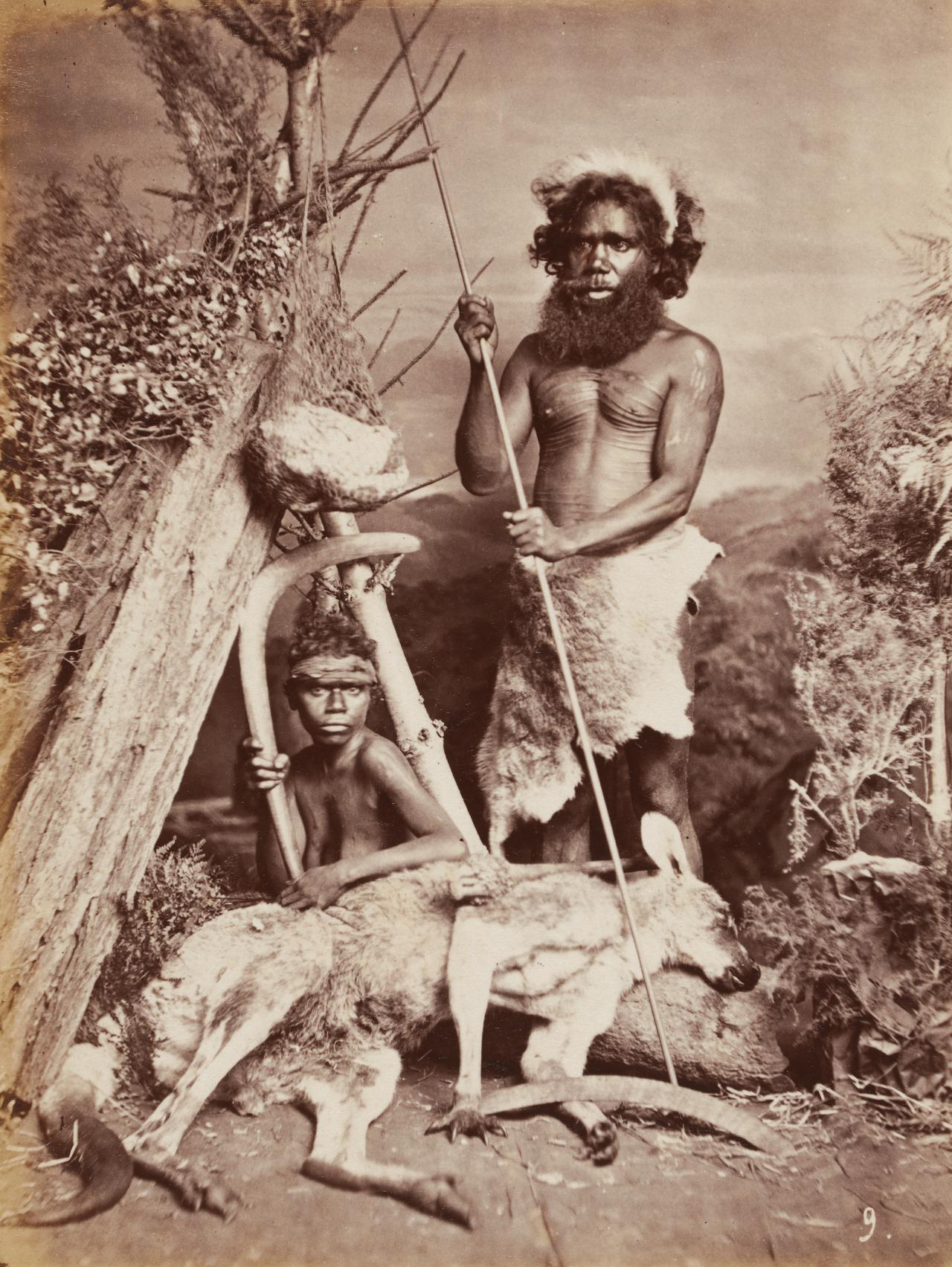 No title (Aboriginal man and woman with kangaroo)