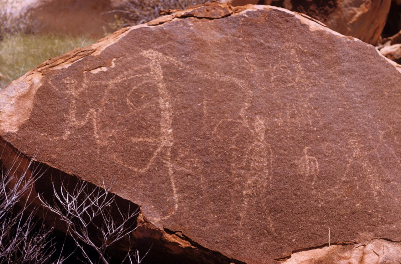 No title (Figures, Aboriginal Rock Art, Gallery Hill, Western Australia, Friday, 17th October 1958)