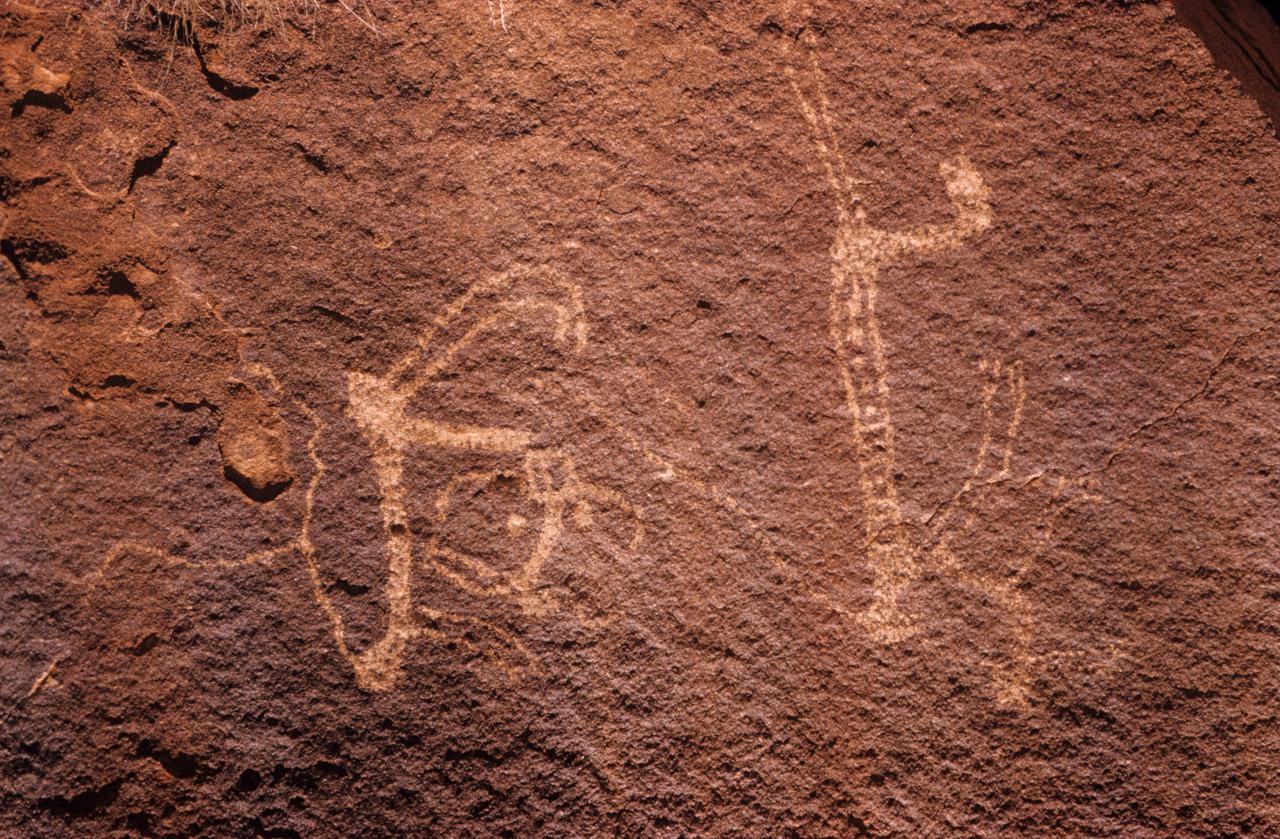 No title (Male figure and copulating figures, Aboriginal Rock Art, Gallery Hill, Western Australia, Friday, 17th October 1958)