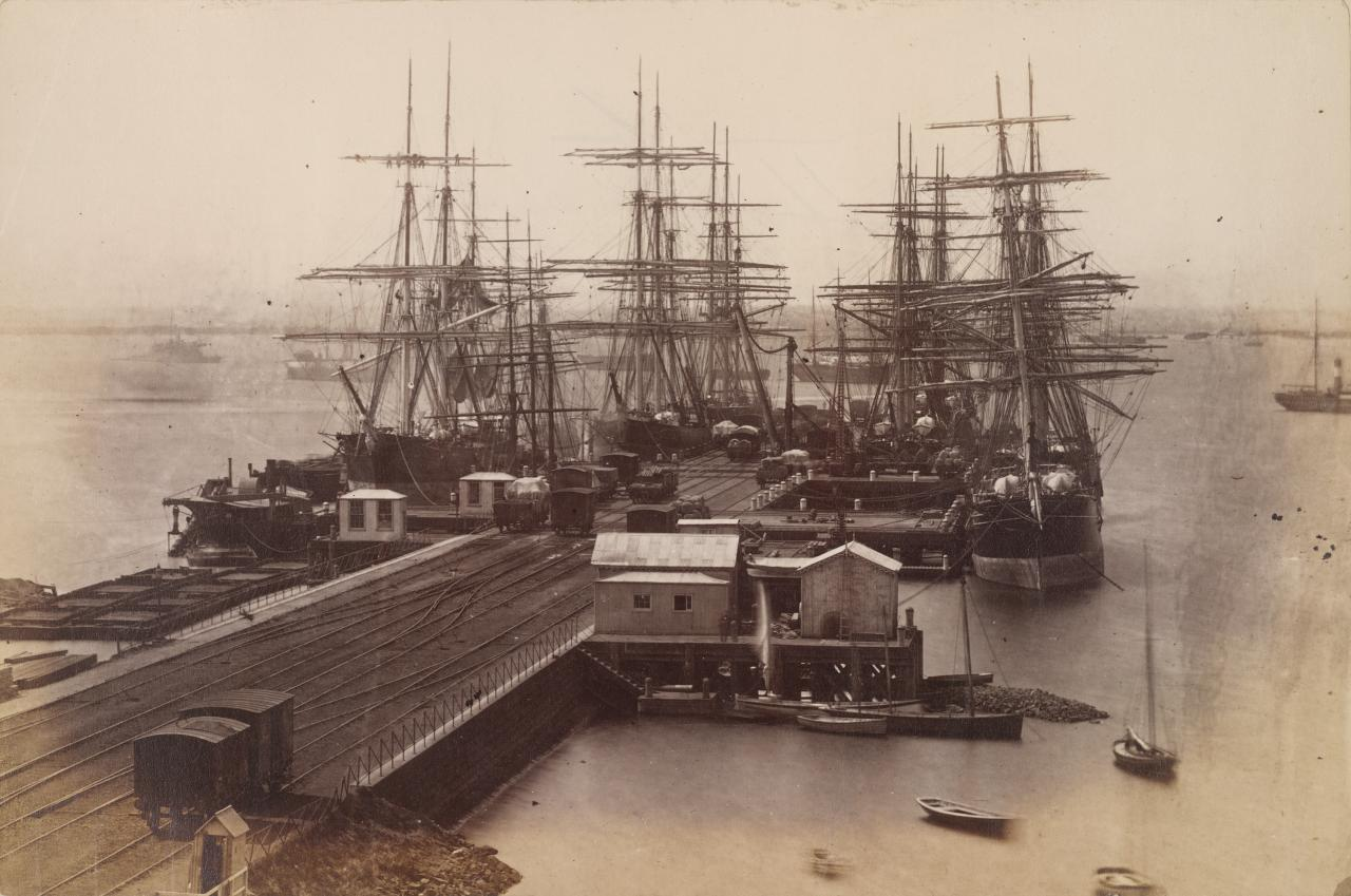 No title (Sailing ships at pier with railway, Williamstown)