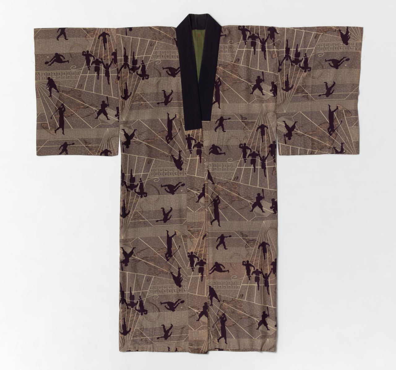 Men's undergarment (nagajuban) with baseball, golf and tennis players