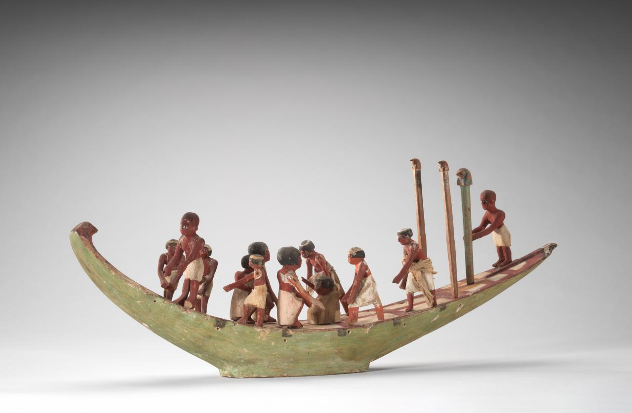 Model of a boat with crew