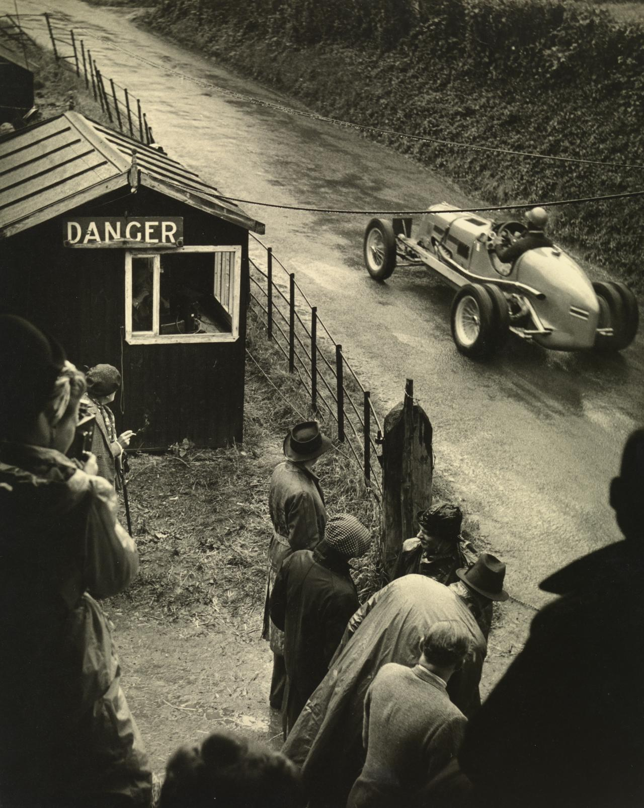 Bira in his 2.9 litre Maserati passing the timing hut, Shelsley Walsh