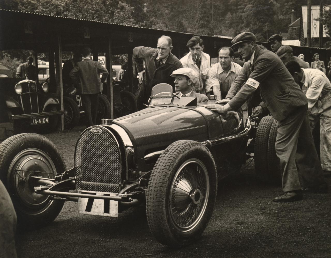 George Abecassis in his 3.3 litre, type 59 G.P. Bugatti, Shelsley Walsh