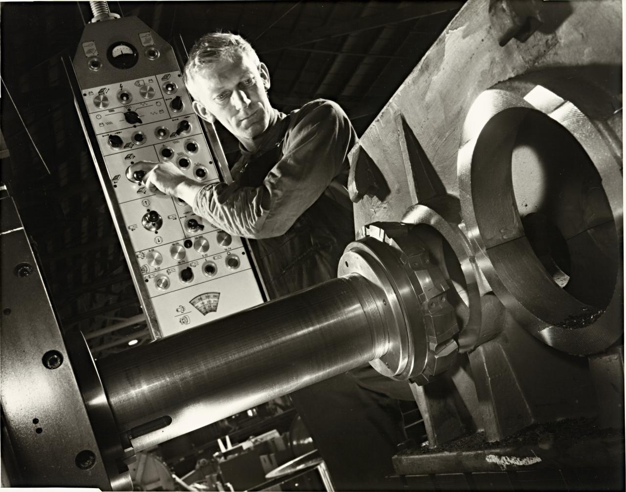 Lathe operator at Marweight, Burnley, Melbourne
