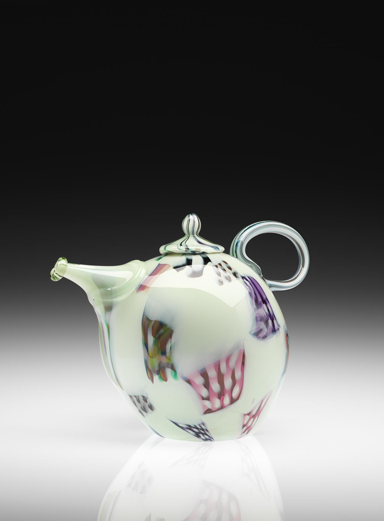 Murrini on white ground bulbous teapot