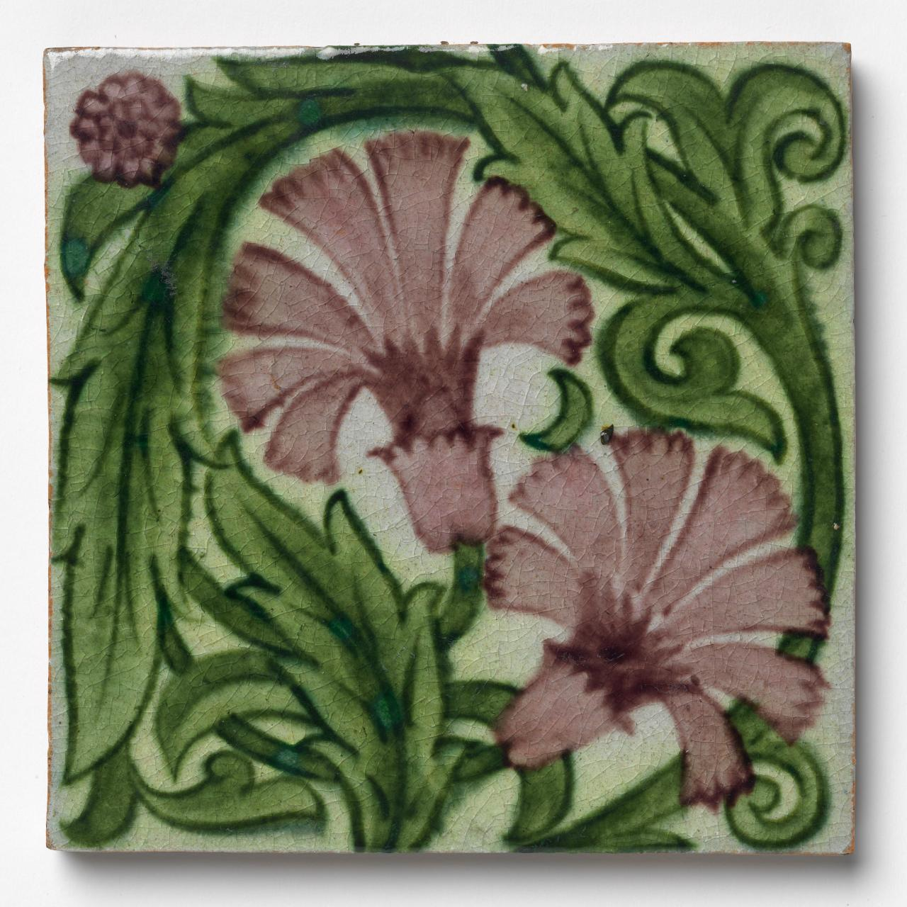 Small carnations and encircled foliage, tile