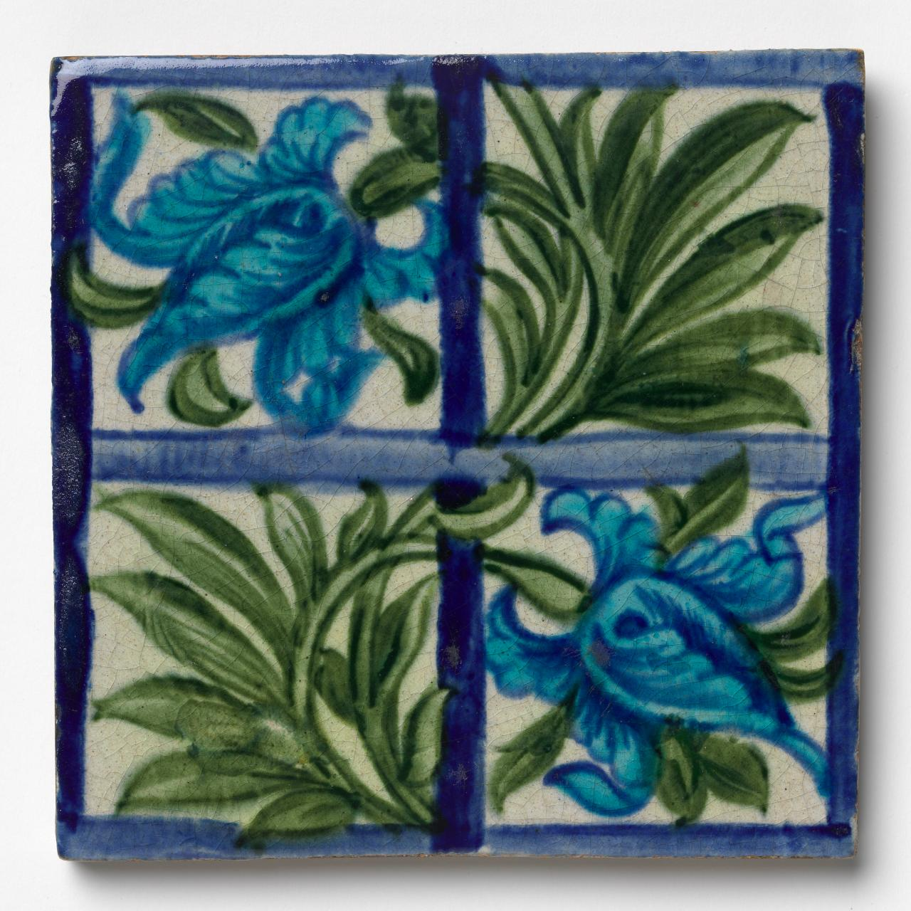 Persian tulips and foliage, tile