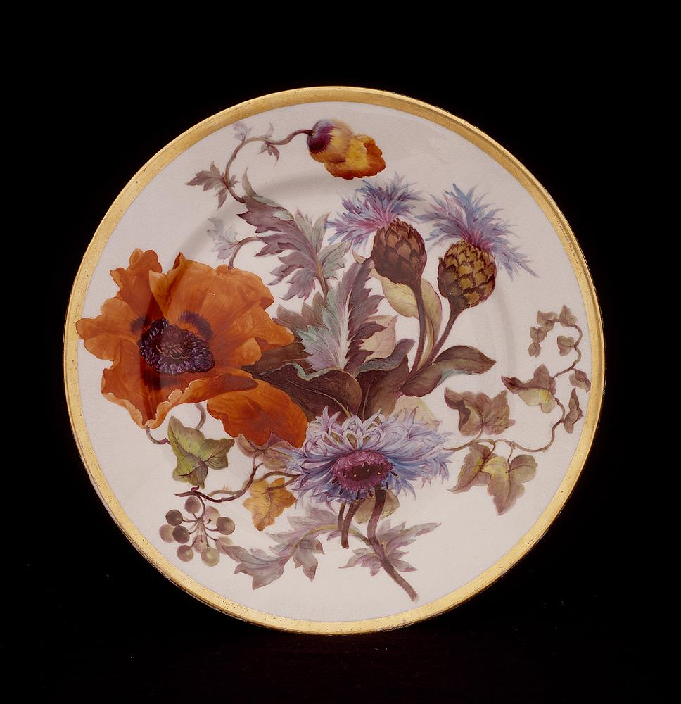 Oriental poppy and great blue bottle, plate