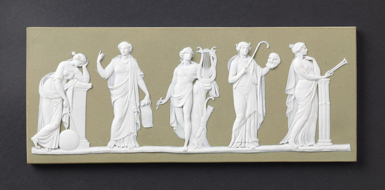 Apollo and the muses, plaque