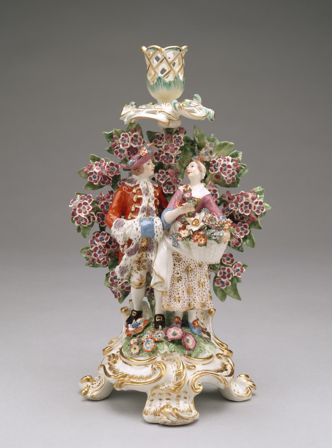 Winter and spring, from The four seasons, candlestick