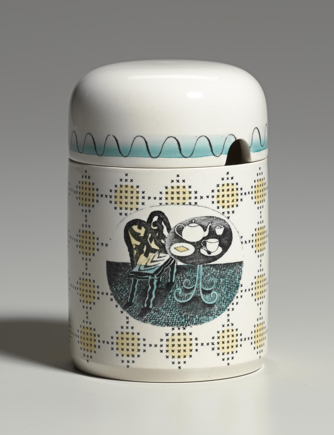 Afternoon tea pattern, covered preserve jar