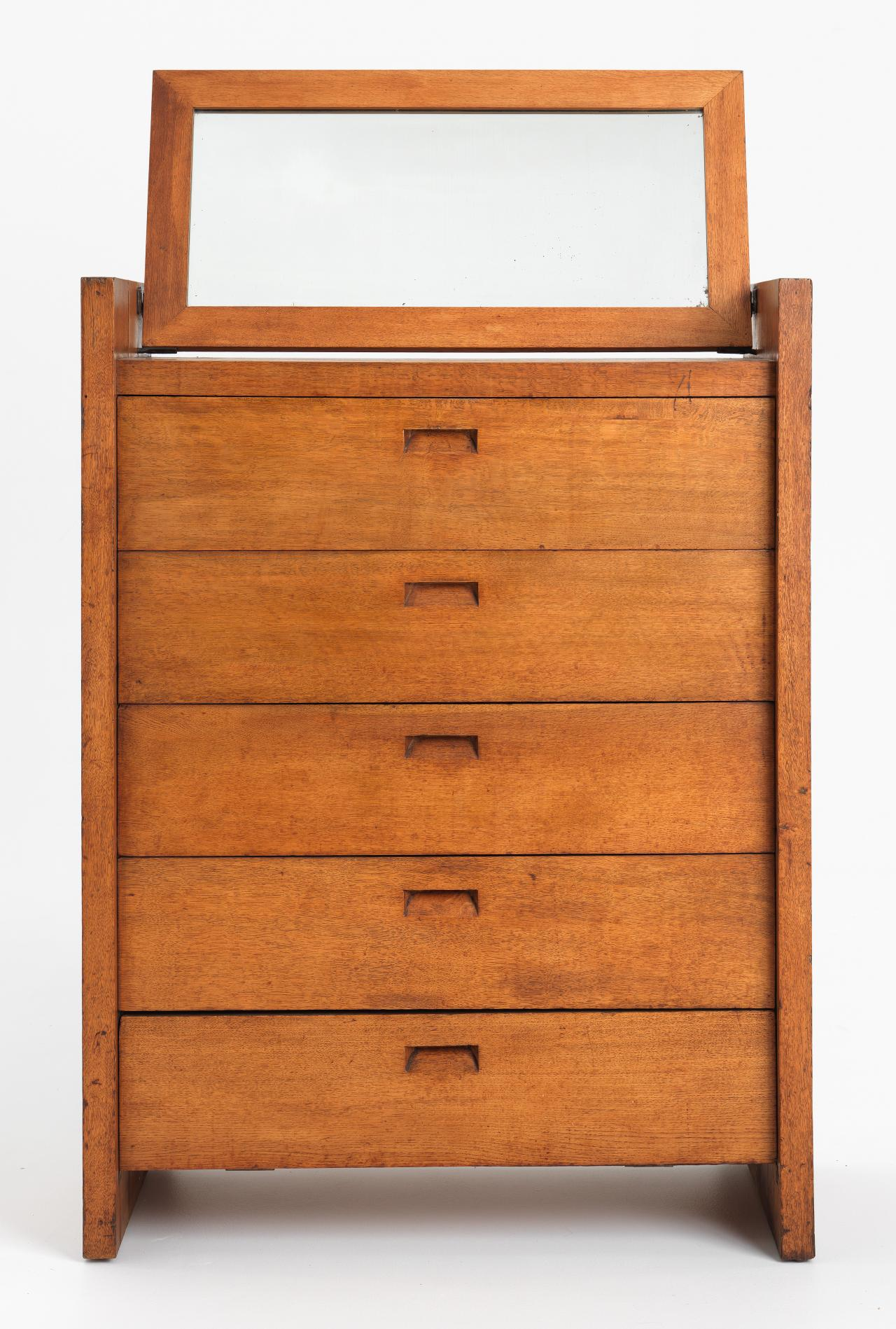 Suite of furniture from Newman College, University of Melbourne: chiffonier