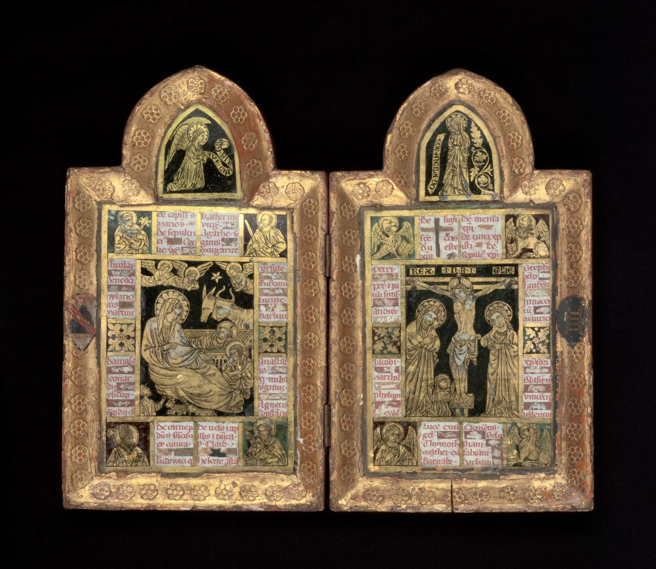 Nativity and Crucifixion, reliquary diptych