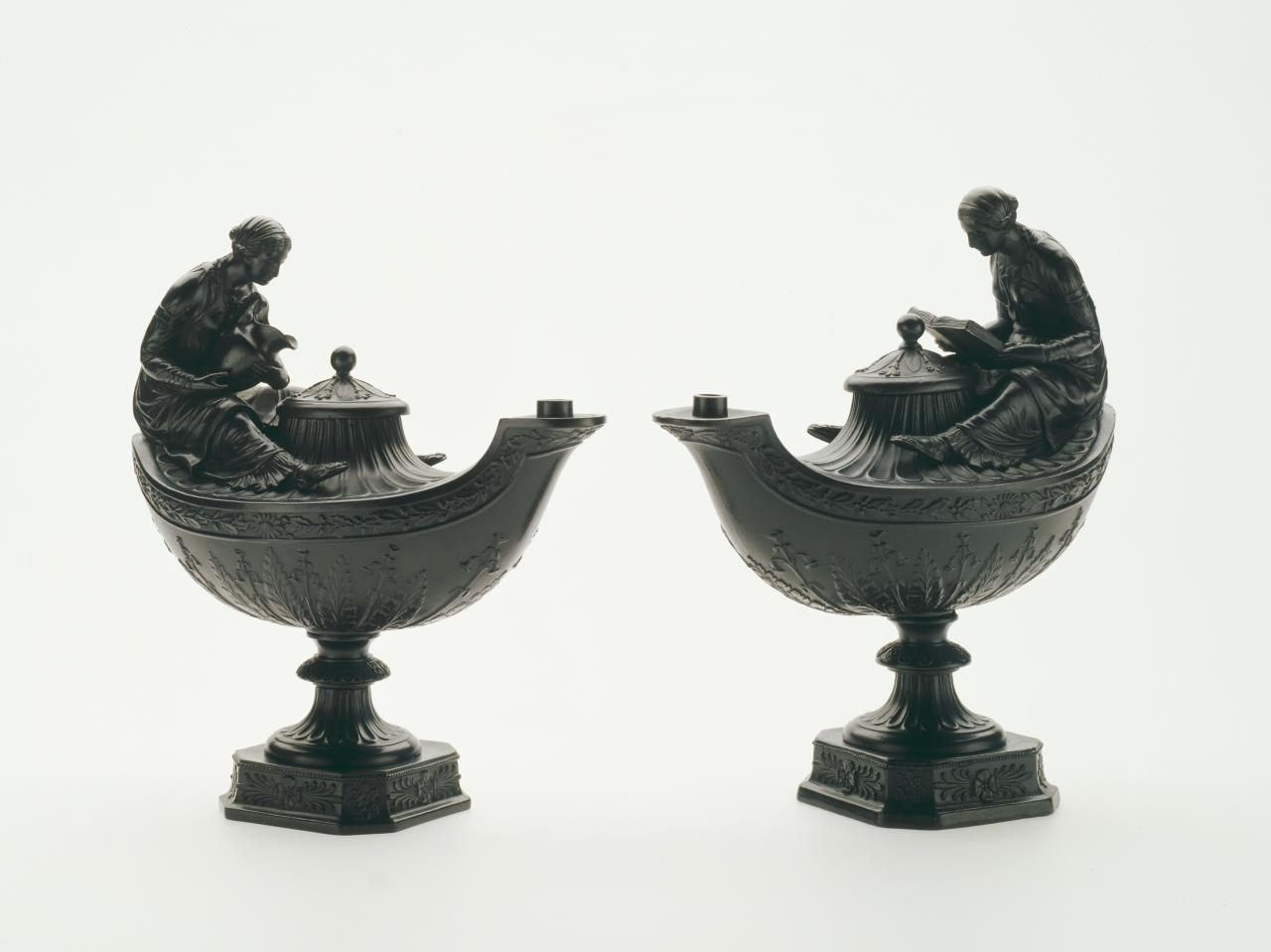 Pair of Vestal oil lamps