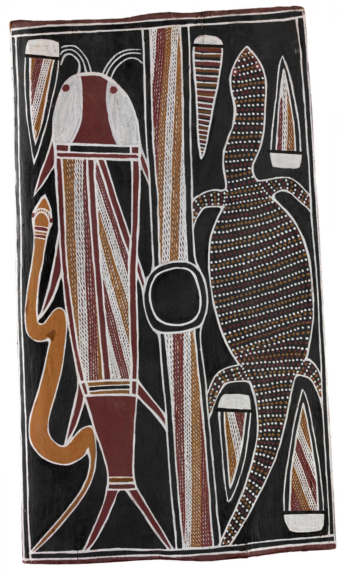 Sacred catfish and goanna | David Malangi~Djinang