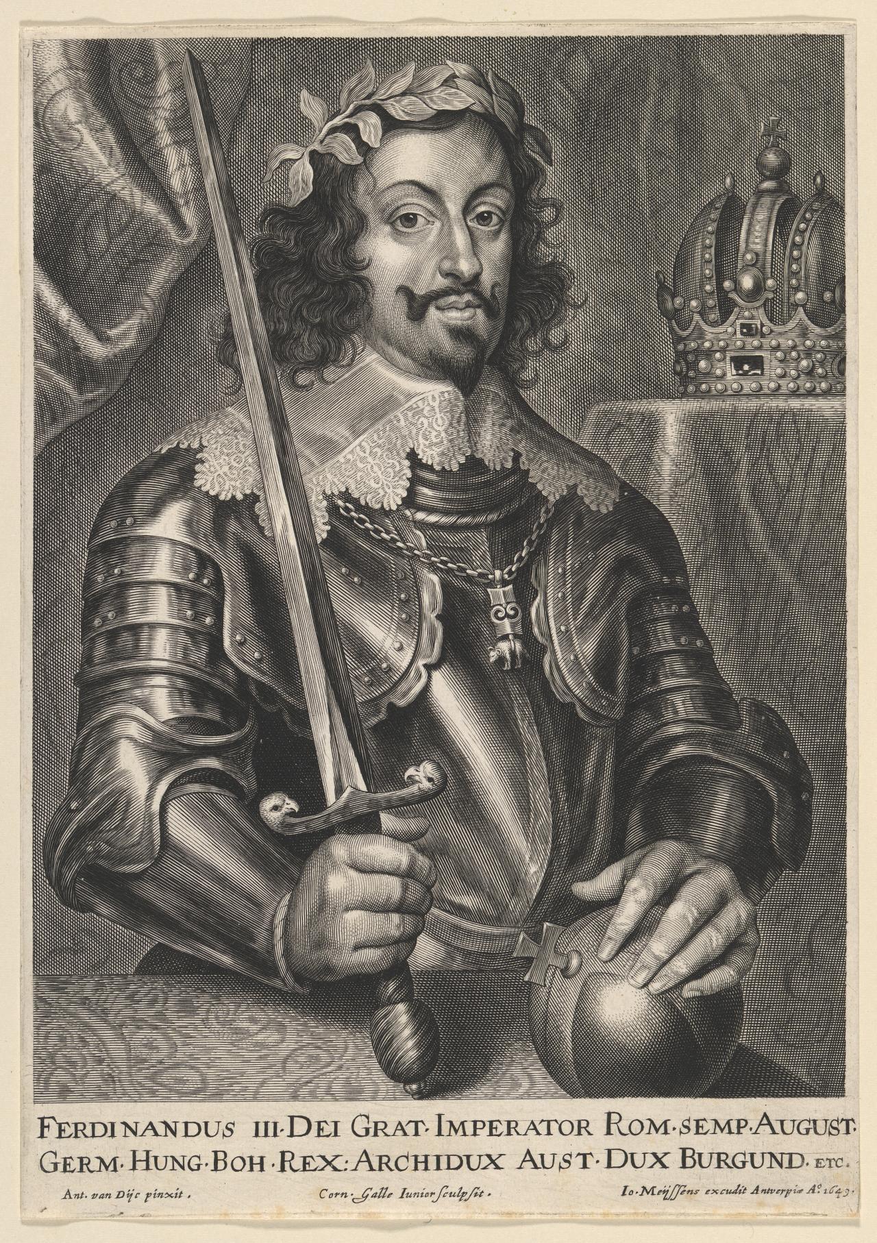 Corn Van Dijck.Ferdinand Iii Emperor Of Germany Cornelis Galle Ii Engraver