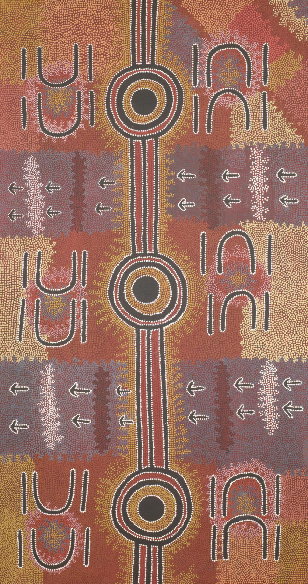 Warlukurlangu manu yankirri Jukurrpa (Fire country and emu Dreaming)
